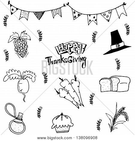 Doodle of food thanksgiving with hand draw