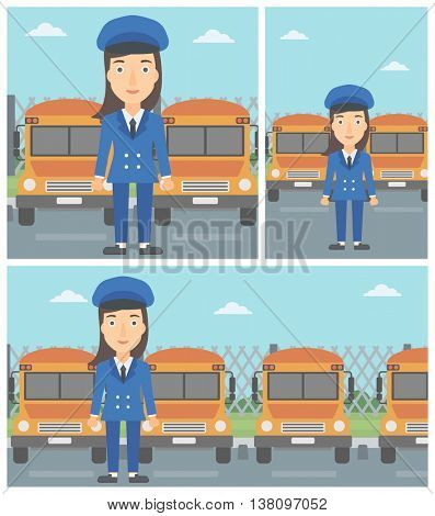 School bus driver standing in front of yellow bus. Vector flat design illustration. Square, horizontal, vertical layouts.