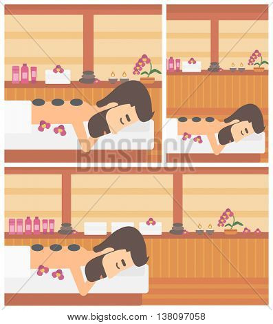 Hipster man with the beard relaxing while getting stone therapy massage in the spa center. Man having back massage in spa salon. Vector flat design illustration. Square, horizontal, vertical layouts.