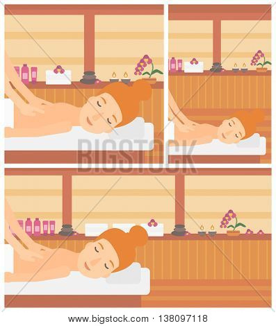 A woman getting a back massage on the background of spa center. Young woman having back massage in the spa salon. Vector flat design illustration. Square, horizontal, vertical layouts.