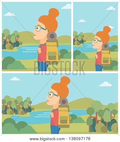 Young woman with backpack enjoying the view of landscape with mountains and lake. Vector flat design illustration. Square, horizontal, vertical layouts.
