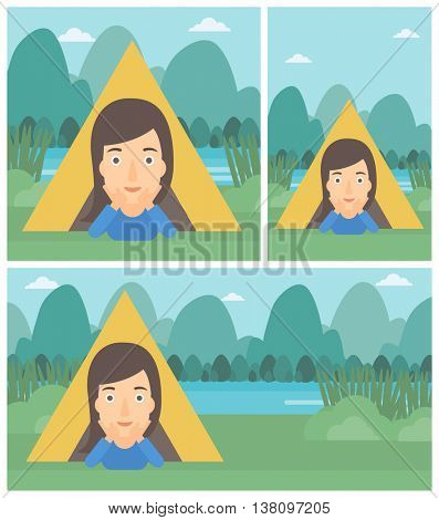 Young woman crawling out from a camping tent. Travelling woman with her hands on cheek lying in camping tent and relaxing. Vector flat design illustration. Square, horizontal, vertical layouts.