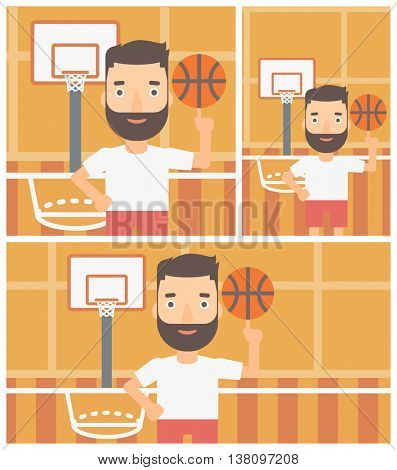 A hipster man with the beard spinning basketball ball on his finger. Young basketball player standing on the basketball court. Vector flat design illustration. Square, horizontal, vertical layouts.