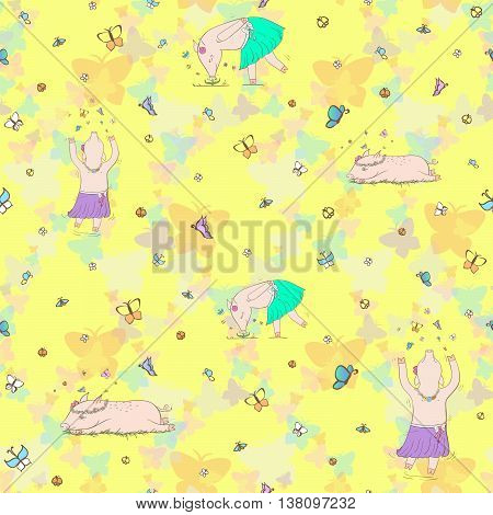 Cheerful pig on a yellow background. EPS 10 vector