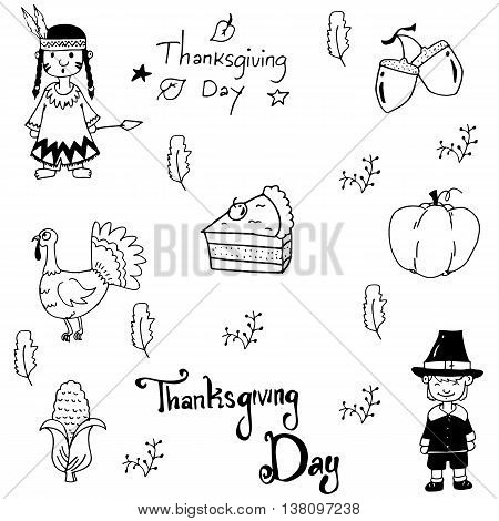 Doodle Thanksgiving element set on white backgrounds