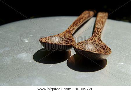 Brown wood spoons