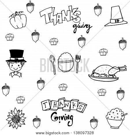 Doodle flat thanksgiving party set vector art