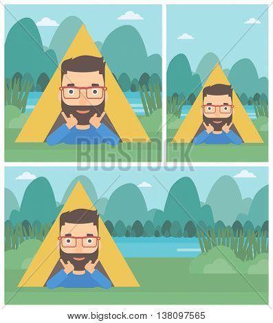 A hipster man with the beard crawling out from a camping tent. Man with his hands on cheek lying in camping tent and relaxing. Vector flat design illustration. Square, horizontal, vertical layouts.