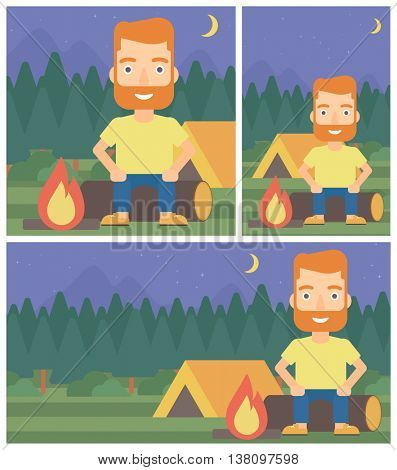 Travelling man sitting on a log near a fire on a background of camping site with tent. Man sitting near a campfire at a campsite. Vector flat design illustration. Square, horizontal, vertical layouts.