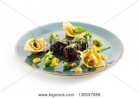 Glazed Beef Cheek with Tortellini and Broccoli