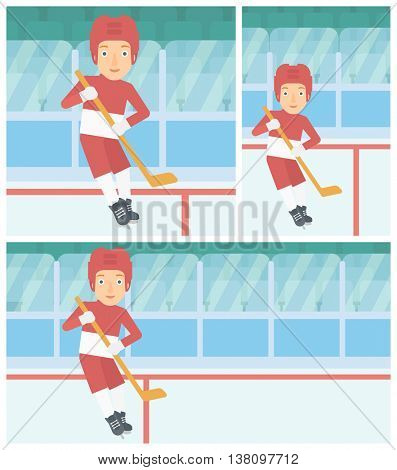 Female ice hockey player skating on ice rink. Professional ice hockey player with a stick. Sportswoman playing ice hockey. Vector flat design illustration. Square, horizontal, vertical layouts.