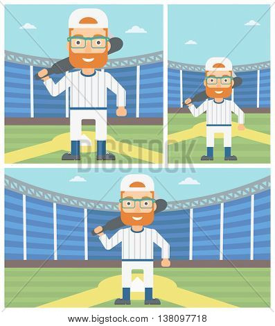 Hipster baseball player with the beard standing on a baseball stadium. Professional baseball player with a bat on his shoulder. Vector flat design illustration. Square, horizontal, vertical layouts.