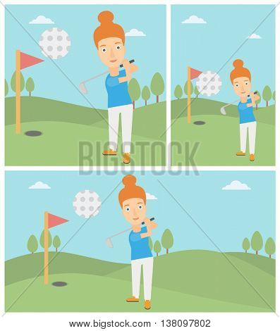 Female golfer hitting the ball. Professional female golfer on golf course. Young woman playing golf. Vector flat design illustration. Square, horizontal, vertical layouts.