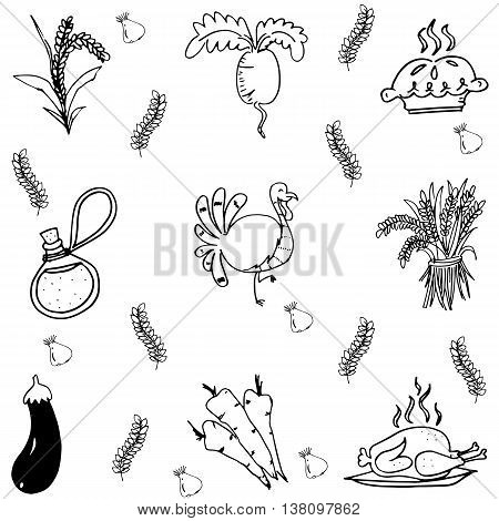 Element Thanksgiving party in doodle vector on white backgrounds