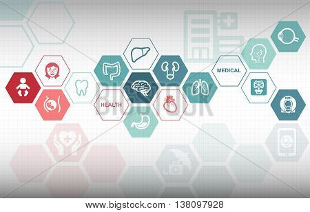 Medical Healthcare Hospital Background with various useful icons
