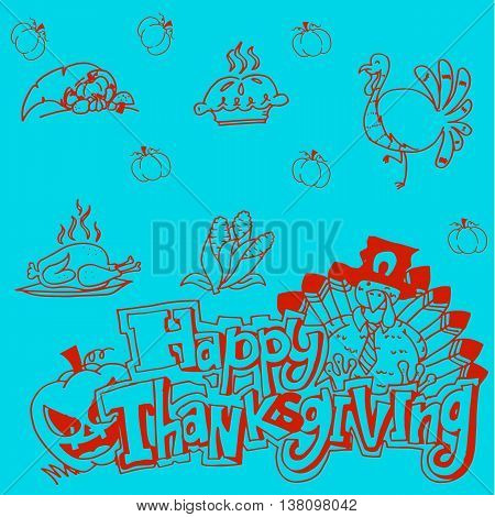 Doodle Thanksgiving vector art on blue backgrounds