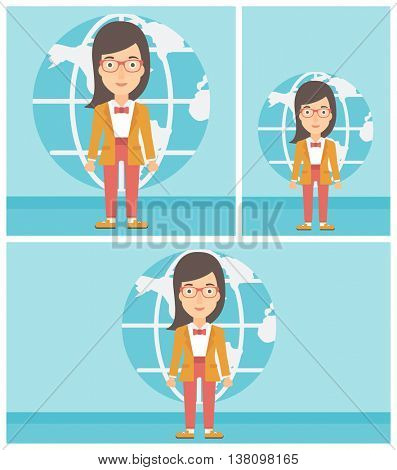 Business woman standing on a background of Earth globe. Business woman taking part in global business. Global business concept. Vector flat design illustration. Square, horizontal, vertical layouts.