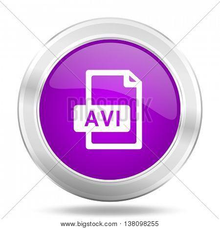 avi file round glossy pink silver metallic icon, modern design web element
