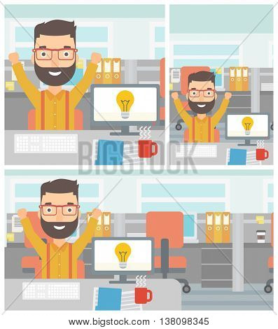 Man with arms up having a business idea. Man working on a computer with a business idea bulb on a screen. Business idea concept. Vector flat design illustration. Square, horizontal, vertical layouts.