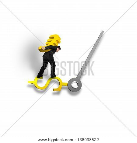 Carrying gold Euro sign balancing on money clock hand isolated in white background time is money concept 3D illustration