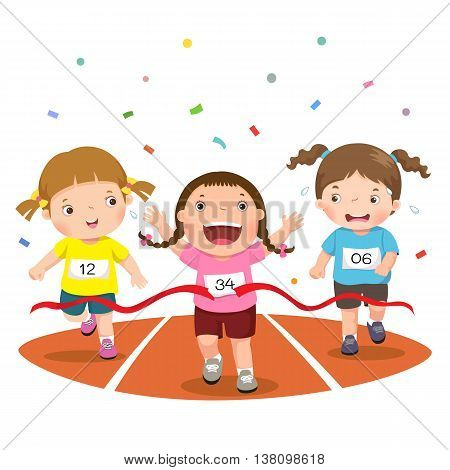 Vector illustration of girls on a race track on a white background