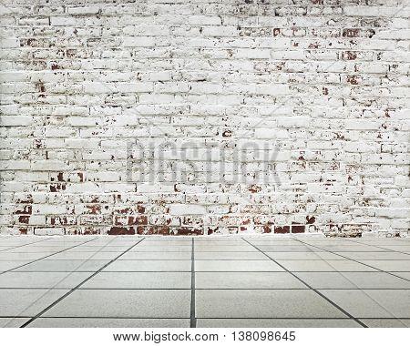 Stripped Bricks Wall With Slate Floor