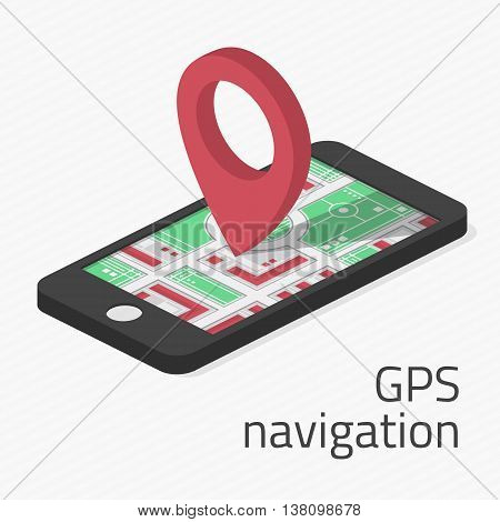 Modern vector illustration of GPS in mobile phone with locations on map. Mobile gps navigation concept. Mobile Gps Navigation vector illustration. Mobile Gps Navigation technologies concept.