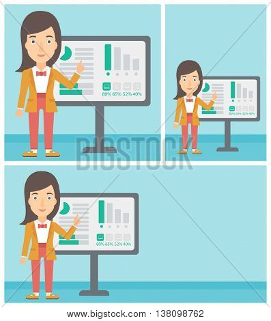 Young business woman pointing at charts on a board during business presentation. Business woman giving a business presentation. Vector flat design illustration. Square, horizontal, vertical layouts.