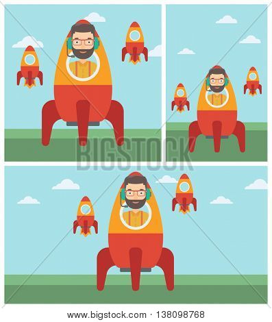 Young hipster businessman in headphones flying in the rocket. Successful business start up concept. Business rocket taking off. Vector flat design illustration. Square, horizontal, vertical layouts.