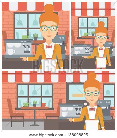 Young female barista sanding in front of coffee machine. Barista at coffee shop. Professional barista making a cup of coffee. Vector flat design illustration. Square, horizontal, vertical layouts.