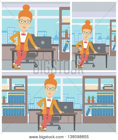 Young confident business woman leaning on a table in the office. Young smiling business woman standing in the office. Vector flat design illustration. Square, horizontal, vertical layouts.