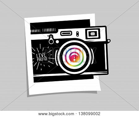 Vintage photo camera out of photoframe, vector illustration for your cool design, eps10