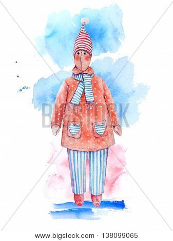 Snowman watercolor rag doll in red polka dot coat with hearts, striped  trousers, scarf and toque
