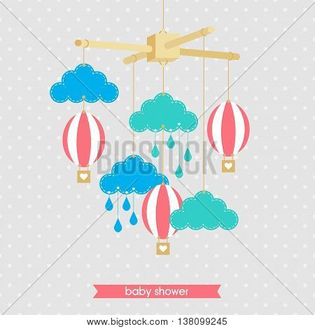 Baby shower invitation template. Illustration of baby mobile: clouds and balloons. Isolated baby mobile for scrap booking cards baby shower. Vector baby mobile.
