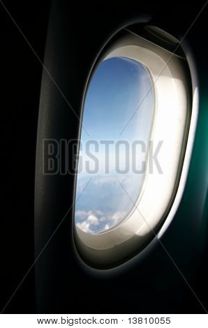 Blue sky in the aircraft window