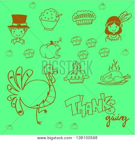 Doodle food thanksgiving party vector art illustration