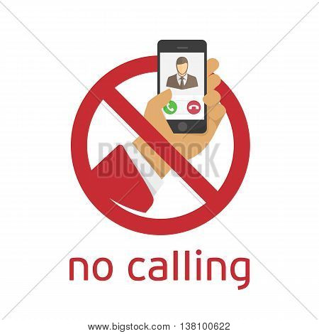 No calling sign on white background. Modern sign ban cell phone use. Illustration in a flat style.