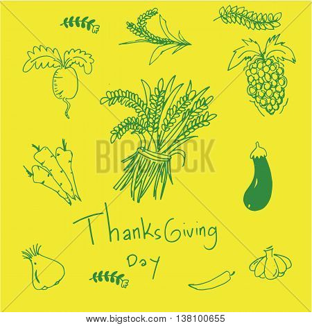 on yellow backgrounds doodle of thaksgiving illustration