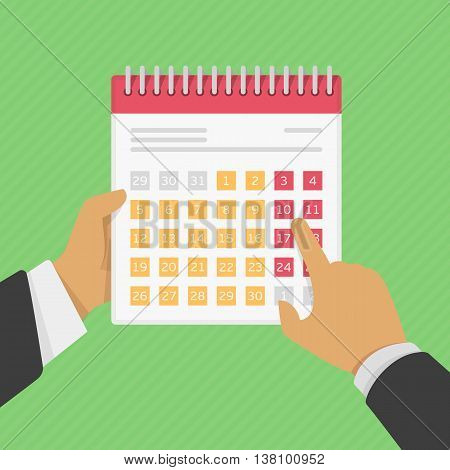 Stock calendar in the hands of man. One hand man holding a calendar, the second hand points to the calendar. Stock illustration in a flat style.