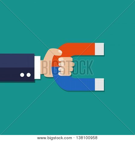 human hand with magnet. vector illustration in flat style on green background