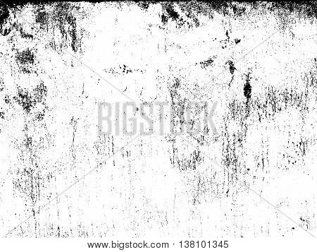 Distressed overlay texture of rusty peeled metal cracked concrete stone and asphalt. grunge background. abstract halftone vector illustration