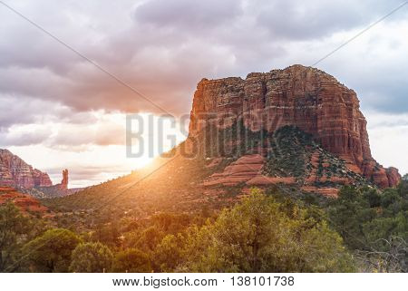 Red rocks near Sedona Arizona at the sunset.