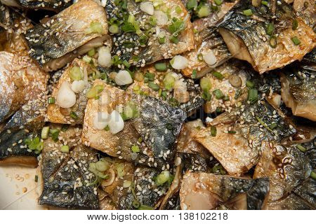 Grill Saba Japanese seawater fish with sauce and vegetable