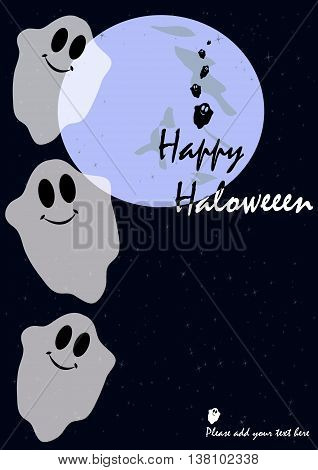 Greeting card with an illustration of funny ghosts in a cartoon style. It can be used as an invitation