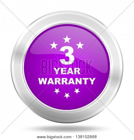 warranty guarantee 3 year round glossy pink silver metallic icon, modern design web element