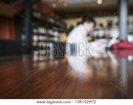 Table Top counter Bar with Blur people working Background