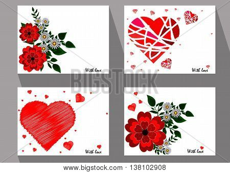 Greeting cards with abstract red flowers and chamomiles in ethnic style for declarations of love a gift for a loved one or a donation for the holiday or other