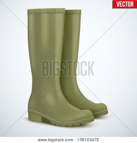 Pair of green rubber hunters and fisherman high boots. Symbol of hunting and fishing. Vector illustration Isolated on white background.