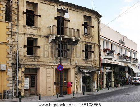 Larnaca Cyprus - May 23 2016: Street in Larnaca with shops and souvenir shops. Larnaca Cyprus.