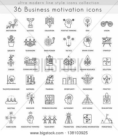 Vector Business motivation and discipline ultra modern outline line icons for web and apps
